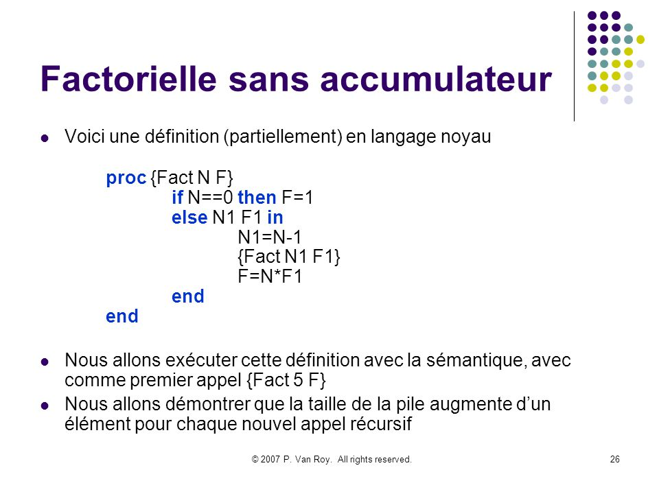 Factorielle sans accumulateur