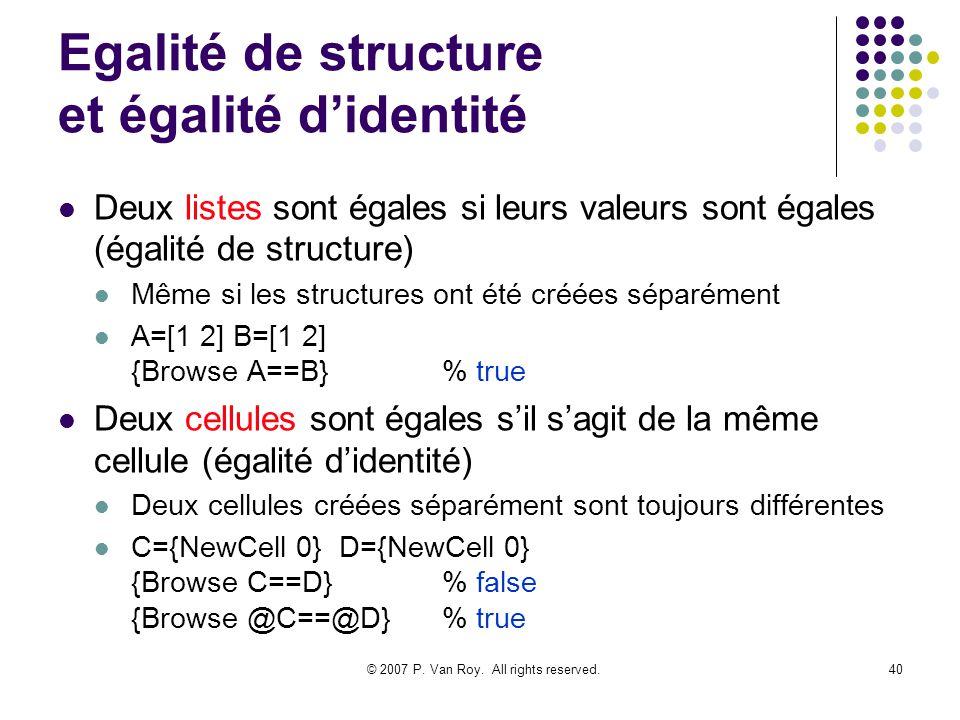 Egalité de structure et égalité d'identité