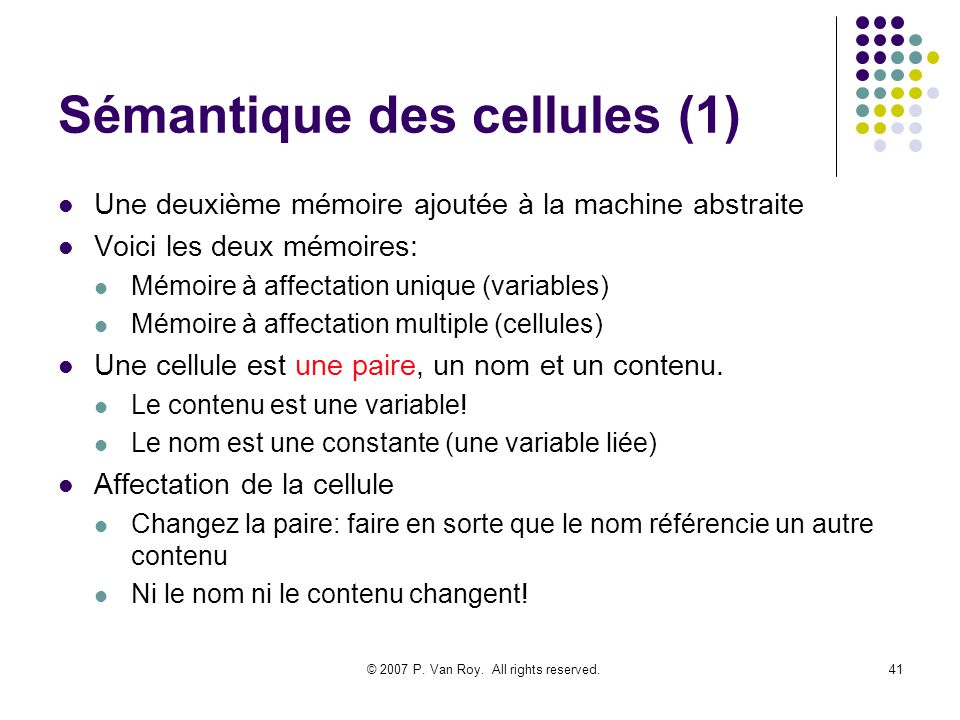 Sémantique des cellules (1)