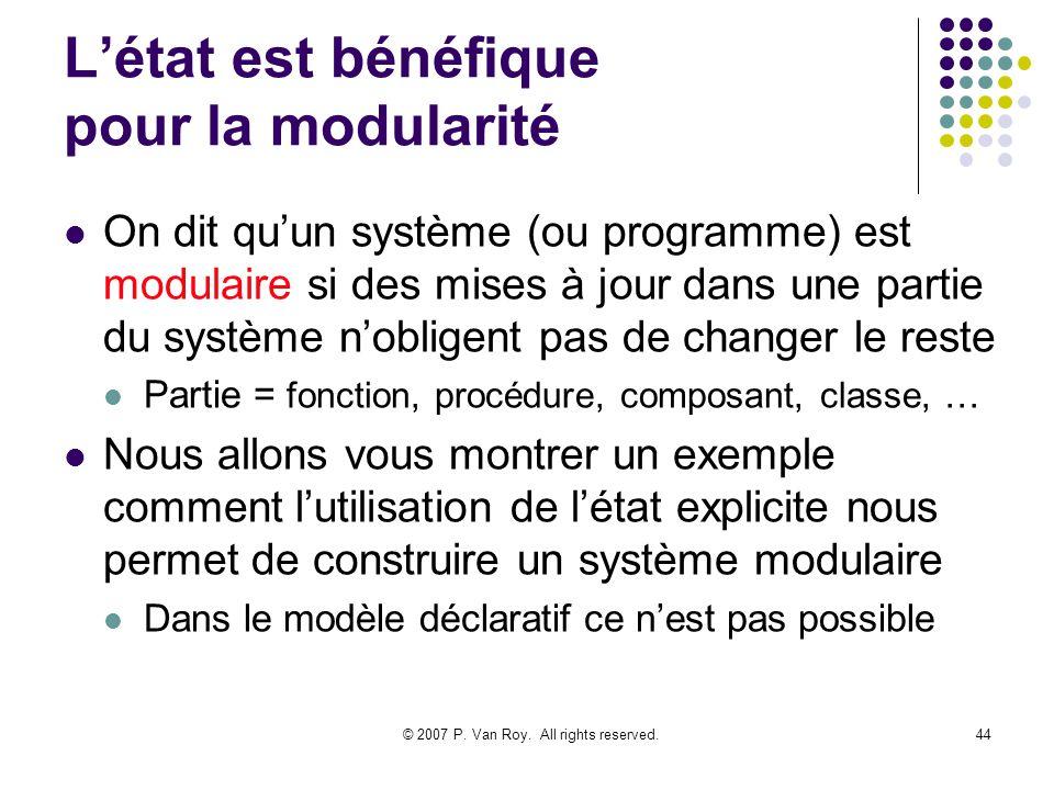 L'état est bénéfique pour la modularité