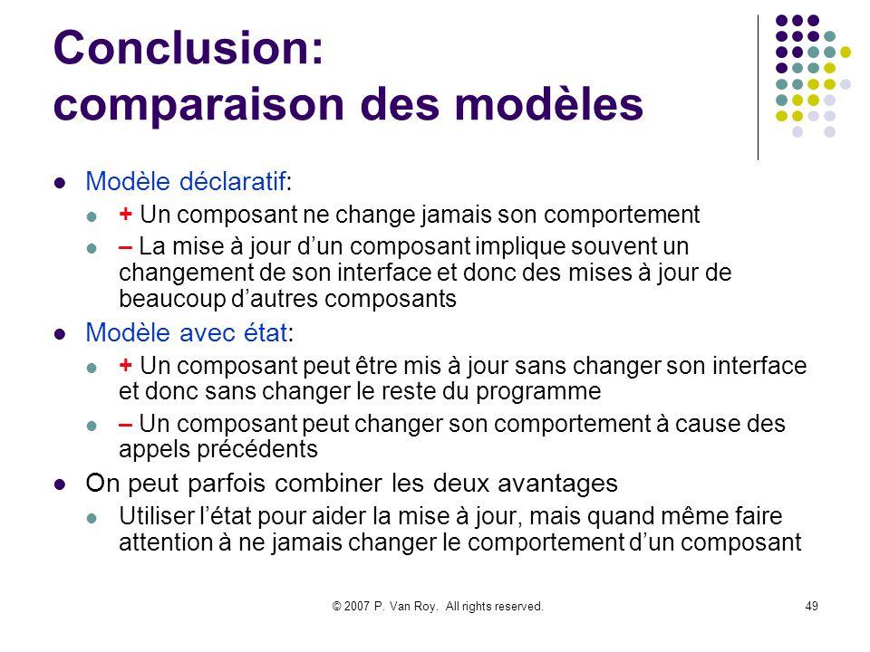 Conclusion: comparaison des modèles
