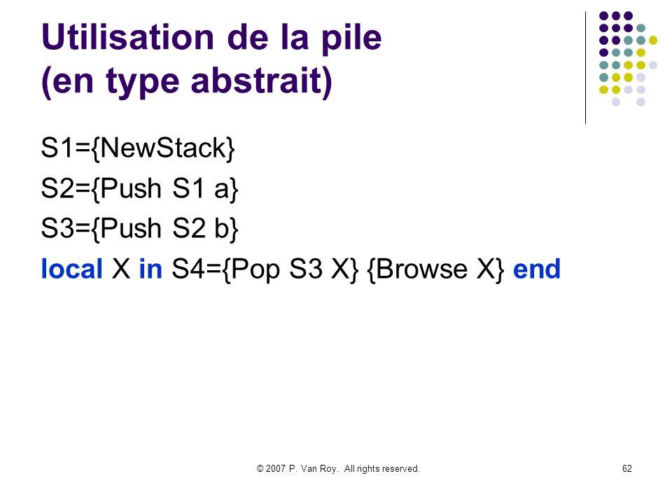 Utilisation de la pile (en type abstrait)