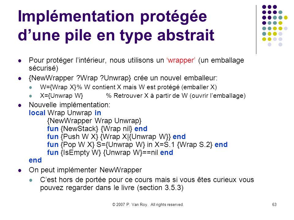 Implémentation protégée d'une pile en type abstrait