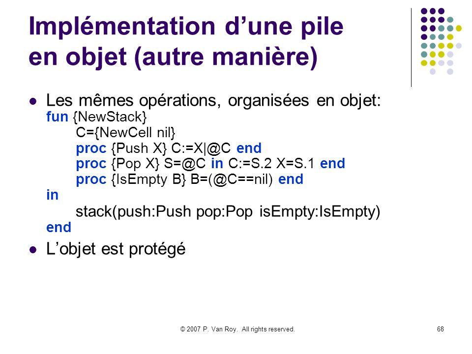 Implémentation d'une pile en objet (autre manière)