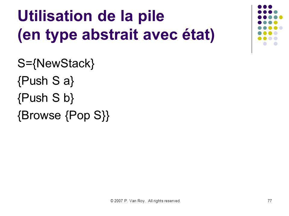 Utilisation de la pile (en type abstrait avec état)