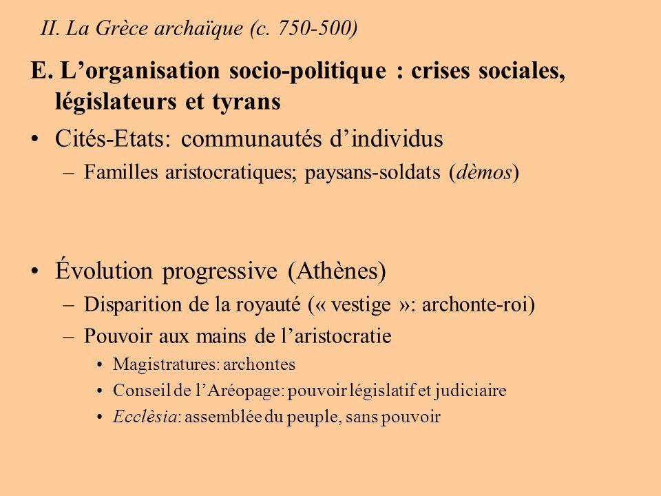 II. La Grèce archaïque (c. 750-500)