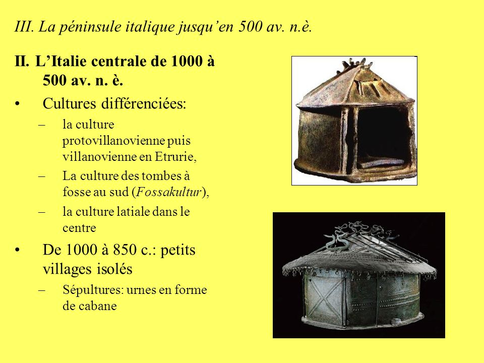 III. La péninsule italique jusqu'en 500 av. n.è.