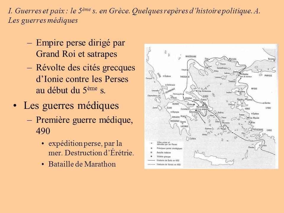Les guerres médiques Empire perse dirigé par Grand Roi et satrapes