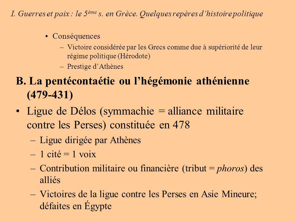 B. La pentécontaétie ou l'hégémonie athénienne (479-431)