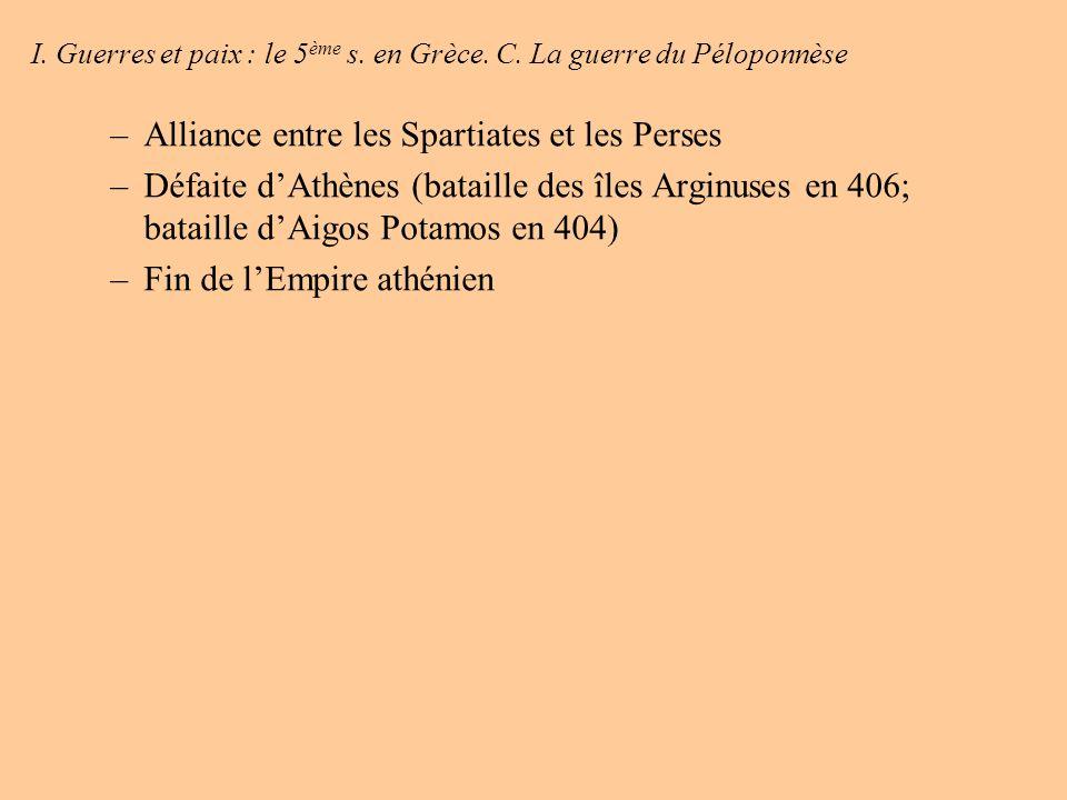 I. Guerres et paix : le 5ème s. en Grèce. C. La guerre du Péloponnèse