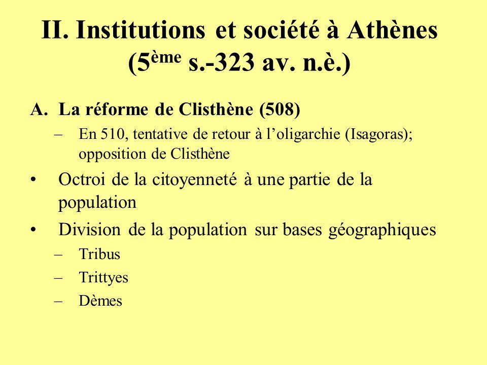 II. Institutions et société à Athènes (5ème s.-323 av. n.è.)