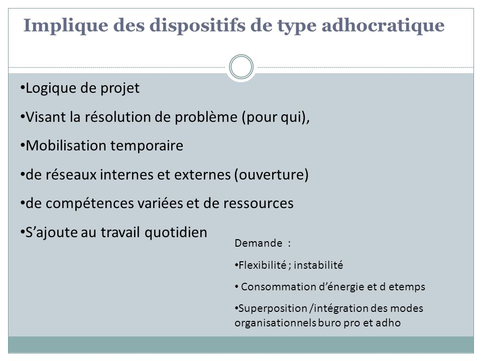 Implique des dispositifs de type adhocratique