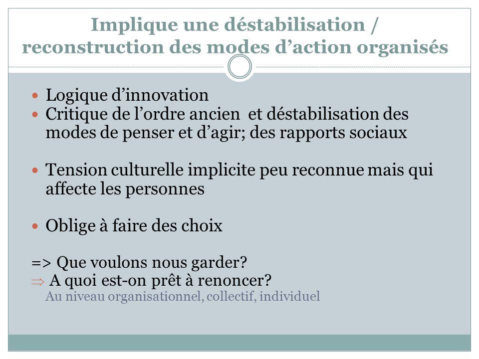 Implique une déstabilisation / reconstruction des modes d'action organisés