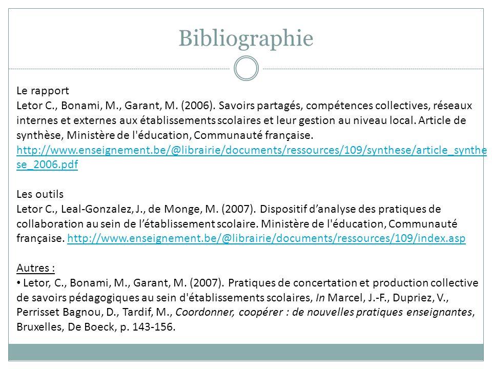 Bibliographie Le rapport