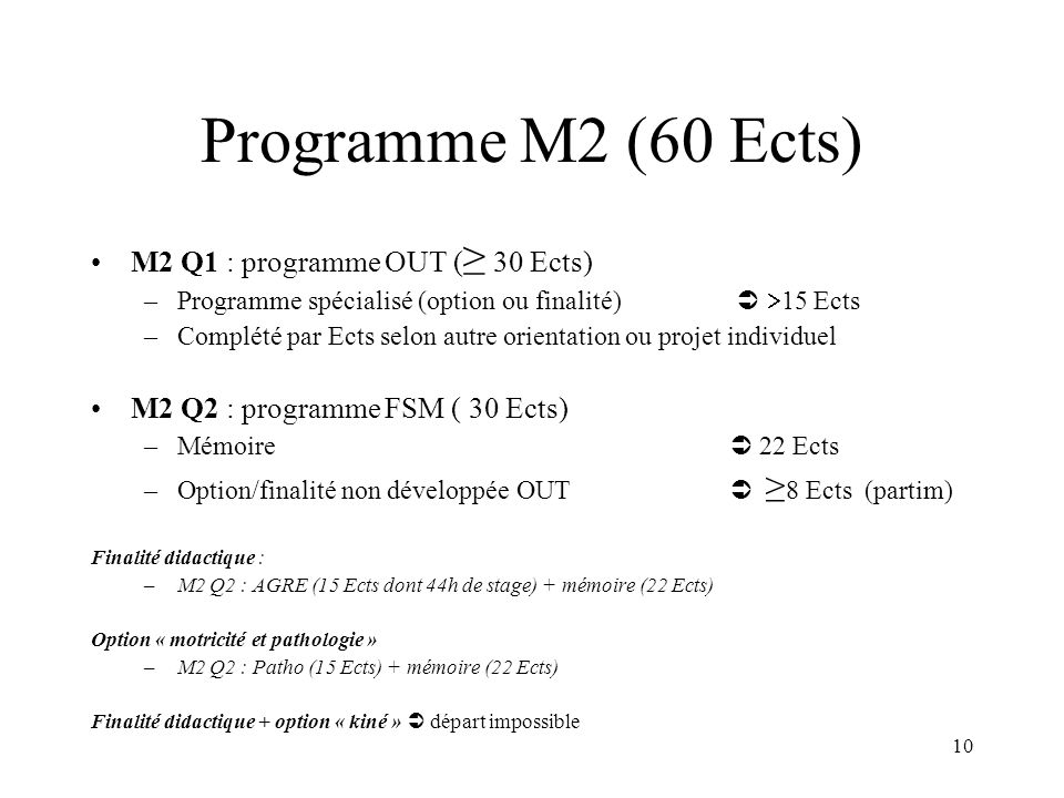 Programme M2 (60 Ects) M2 Q1 : programme OUT (≥ 30 Ects)
