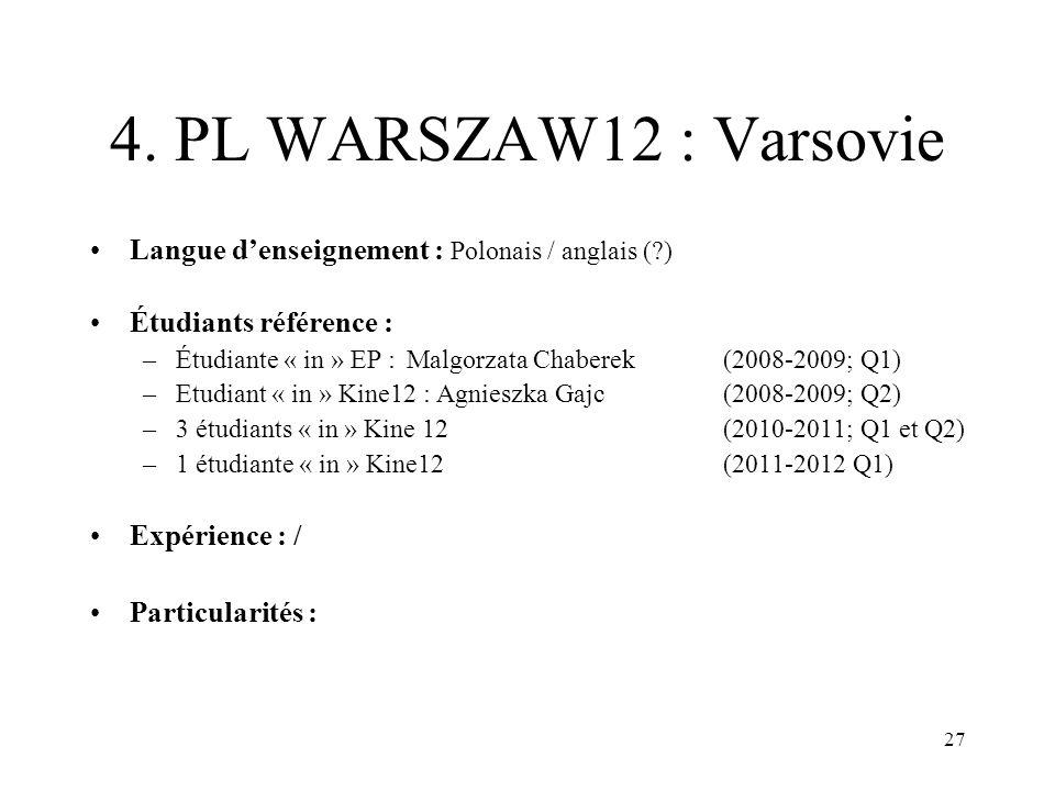 4. PL WARSZAW12 : Varsovie Langue d'enseignement : Polonais / anglais ( ) Étudiants référence :