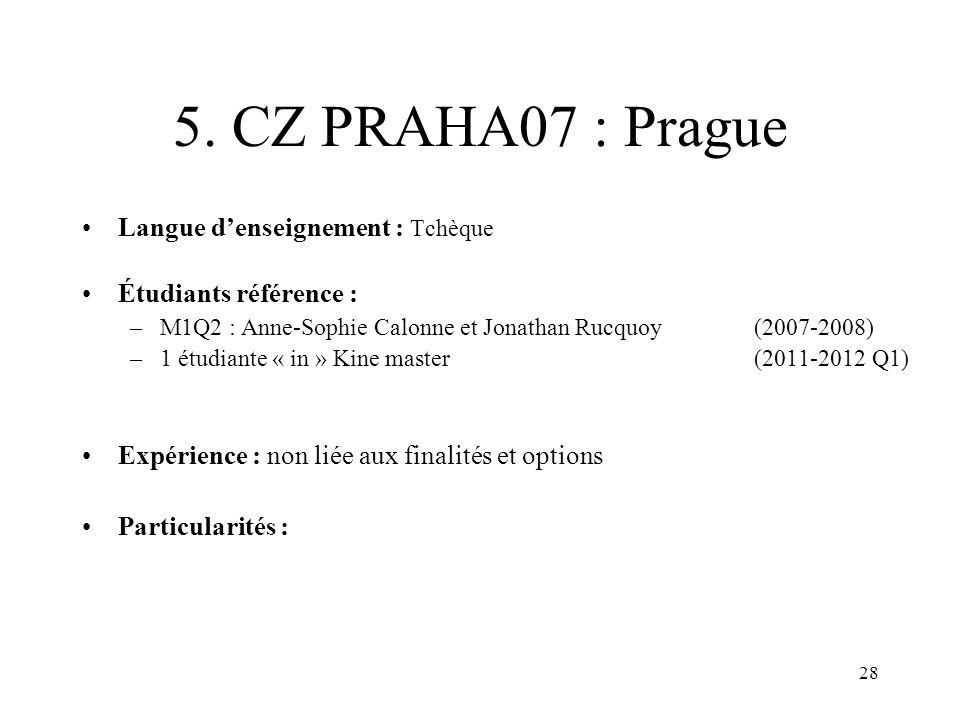 5. CZ PRAHA07 : Prague Langue d'enseignement : Tchèque