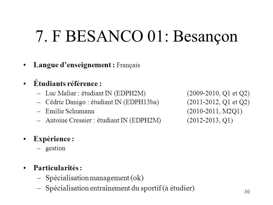 7. F BESANCO 01: Besançon Langue d'enseignement : Français