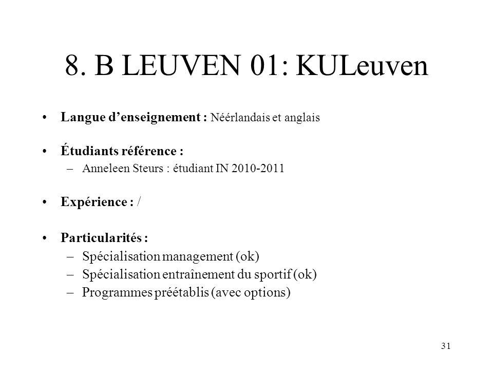 8. B LEUVEN 01: KULeuven Langue d'enseignement : Néérlandais et anglais. Étudiants référence : Anneleen Steurs : étudiant IN 2010-2011.