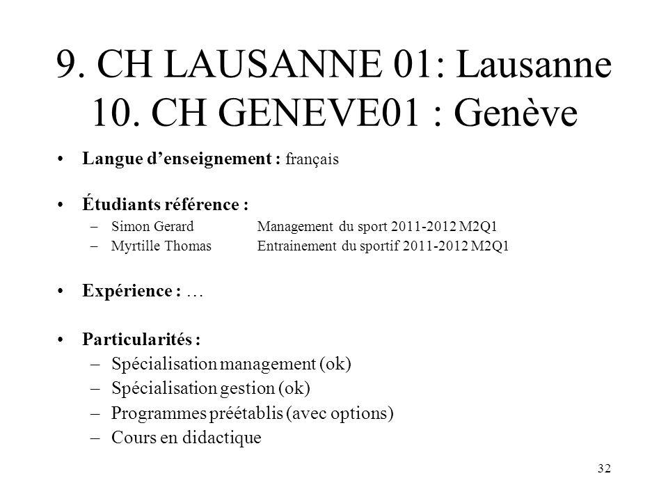 9. CH LAUSANNE 01: Lausanne 10. CH GENEVE01 : Genève