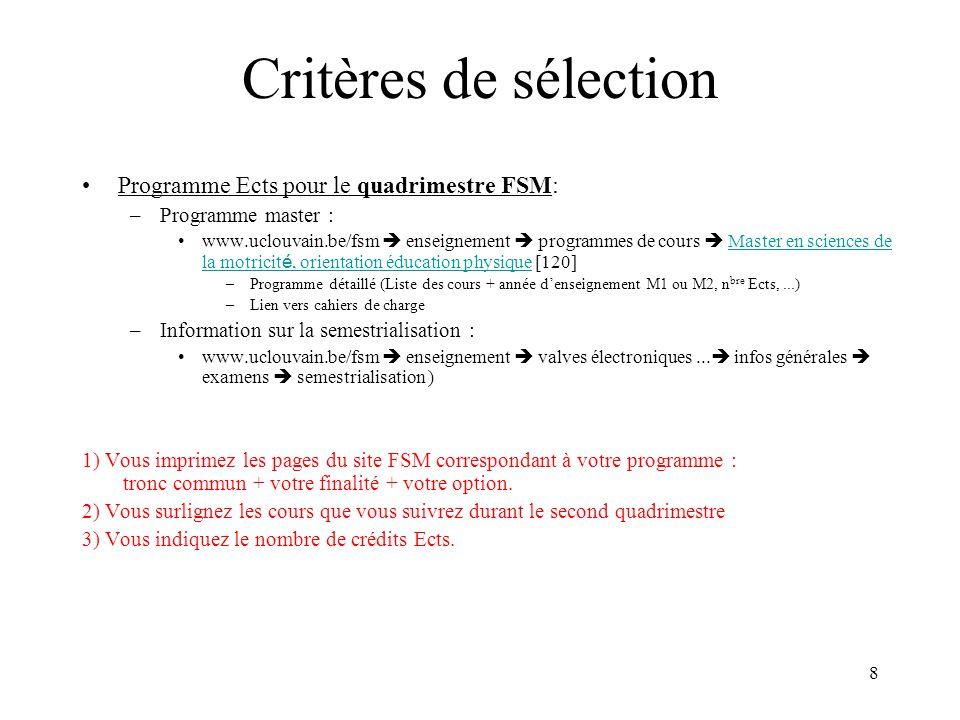 Critères de sélection Programme Ects pour le quadrimestre FSM: