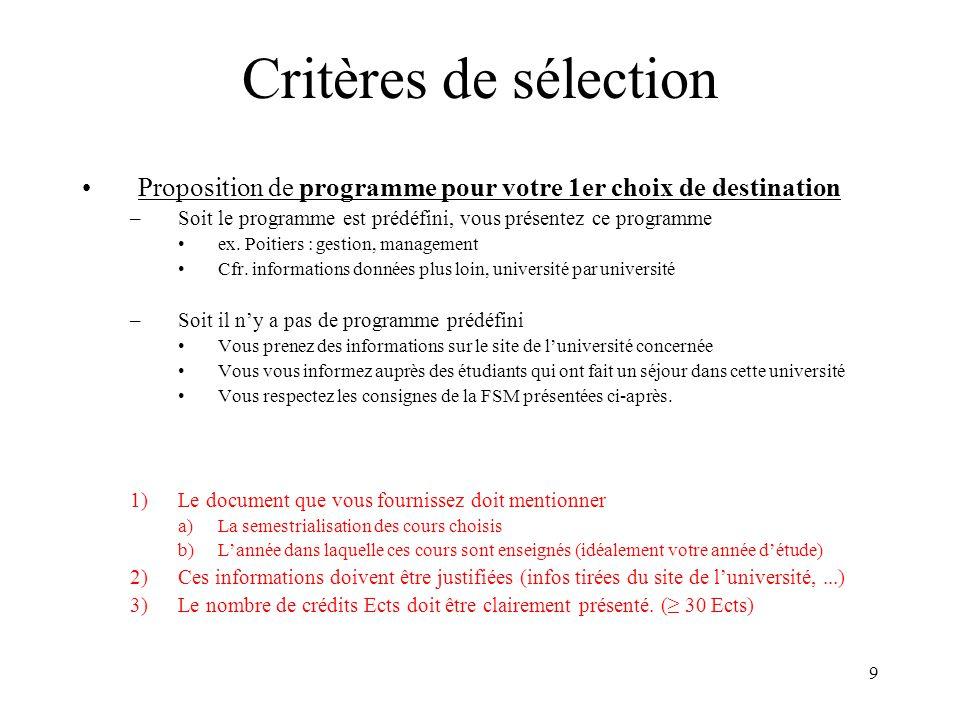 Critères de sélection Proposition de programme pour votre 1er choix de destination. Soit le programme est prédéfini, vous présentez ce programme.