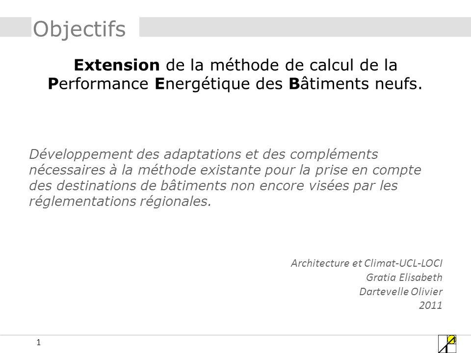 Objectifs Extension de la méthode de calcul de la Performance Energétique des Bâtiments neufs.