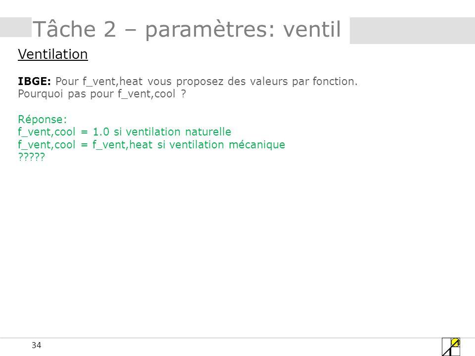Tâche 2 – paramètres: ventil