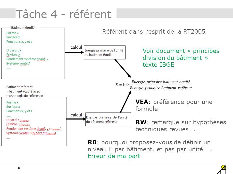 Tâche 4 - référent Référent dans l'esprit de la RT2005