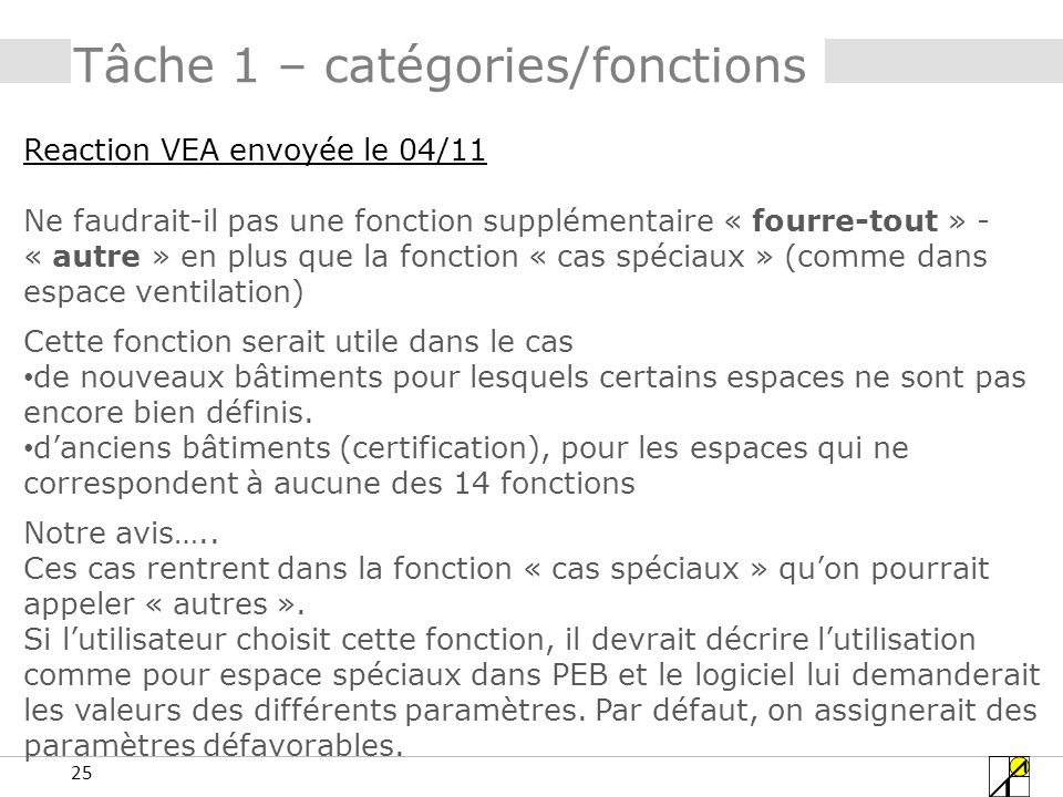 Tâche 1 – catégories/fonctions