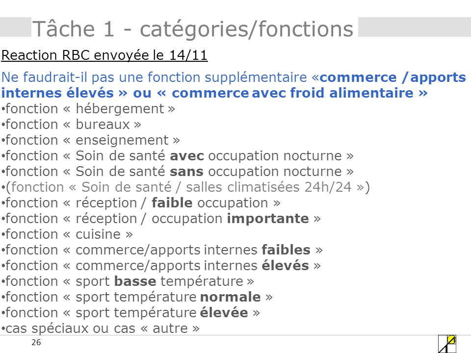 Tâche 1 - catégories/fonctions