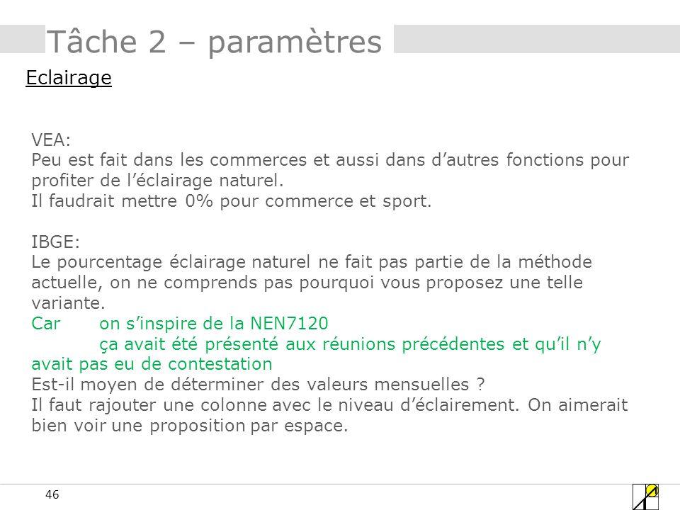 Tâche 2 – paramètres Eclairage VEA: