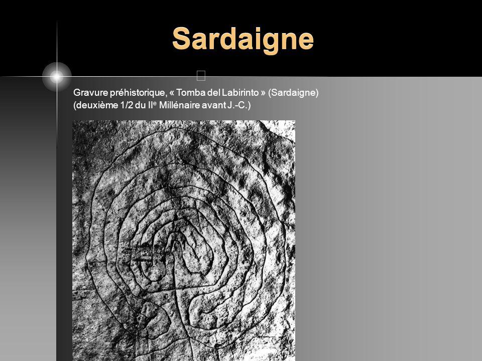 Sardaigne Gravure préhistorique, « Tomba del Labirinto » (Sardaigne)