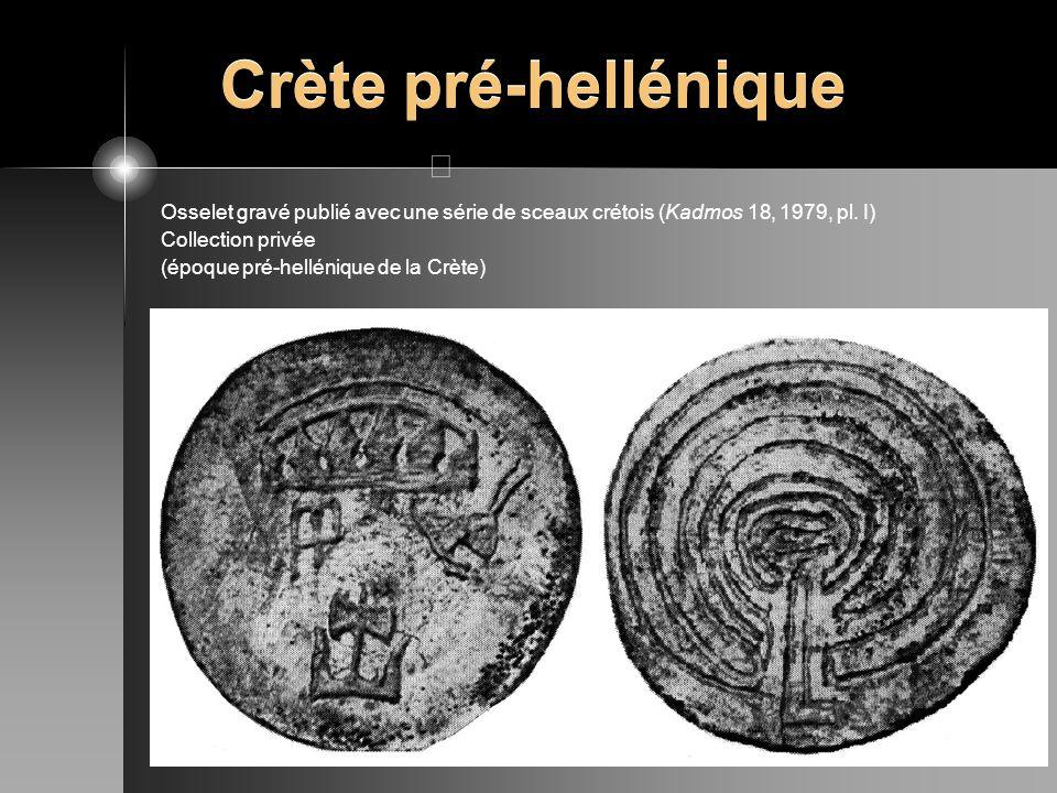 Crète pré-hellénique Osselet gravé publié avec une série de sceaux crétois (Kadmos 18, 1979, pl. I)