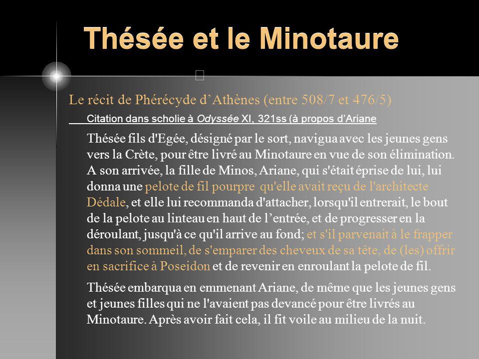 Thésée et le Minotaure Le récit de Phérécyde d'Athènes (entre 508/7 et 476/5) Citation dans scholie à Odyssée XI, 321ss (à propos d'Ariane.