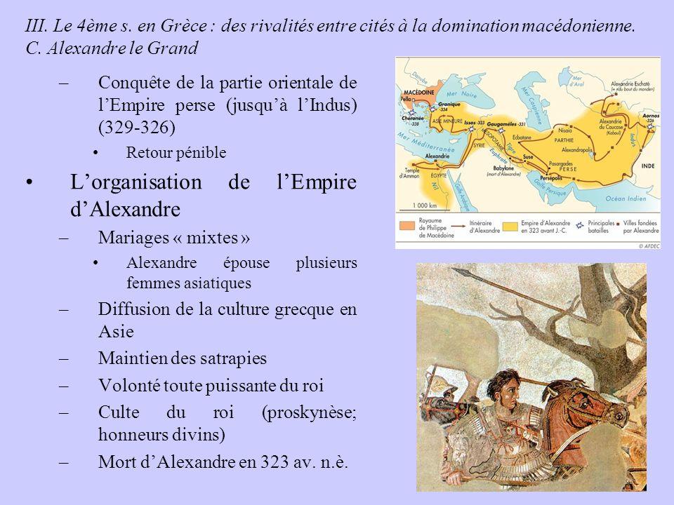 L'organisation de l'Empire d'Alexandre