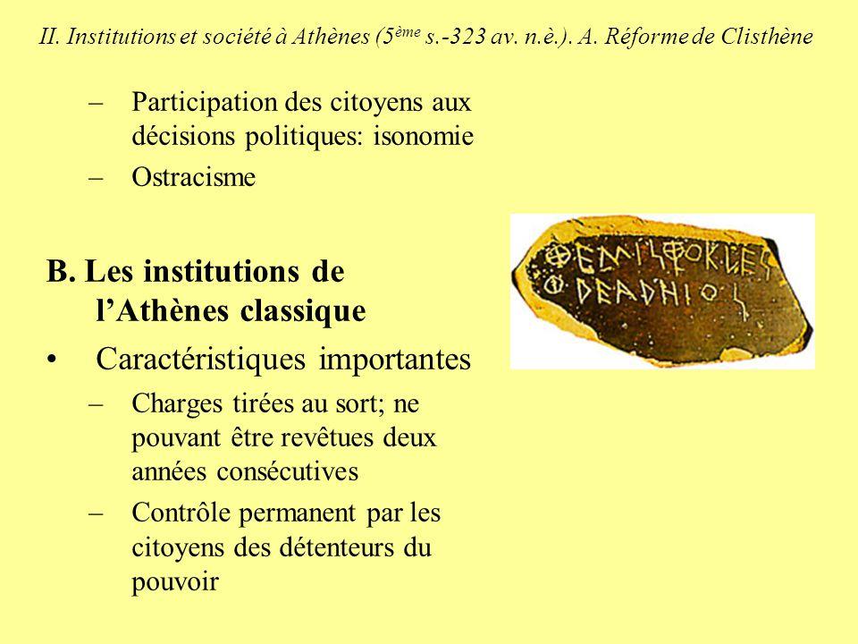 B. Les institutions de l'Athènes classique