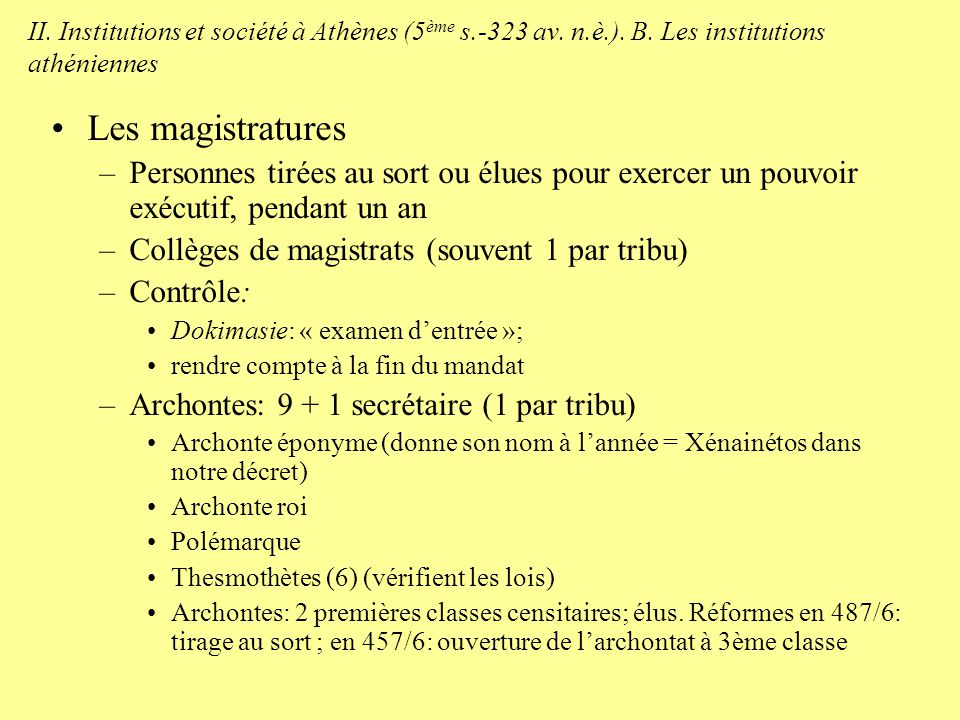 II. Institutions et société à Athènes (5ème s. -323 av. n. è. ). B