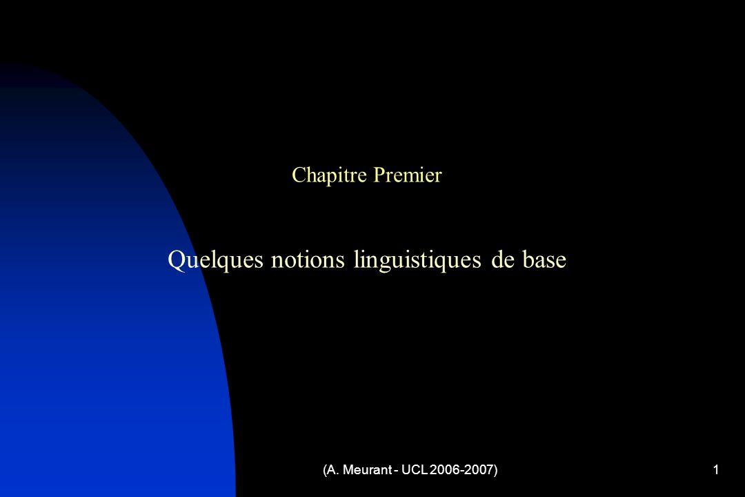 Quelques notions linguistiques de base