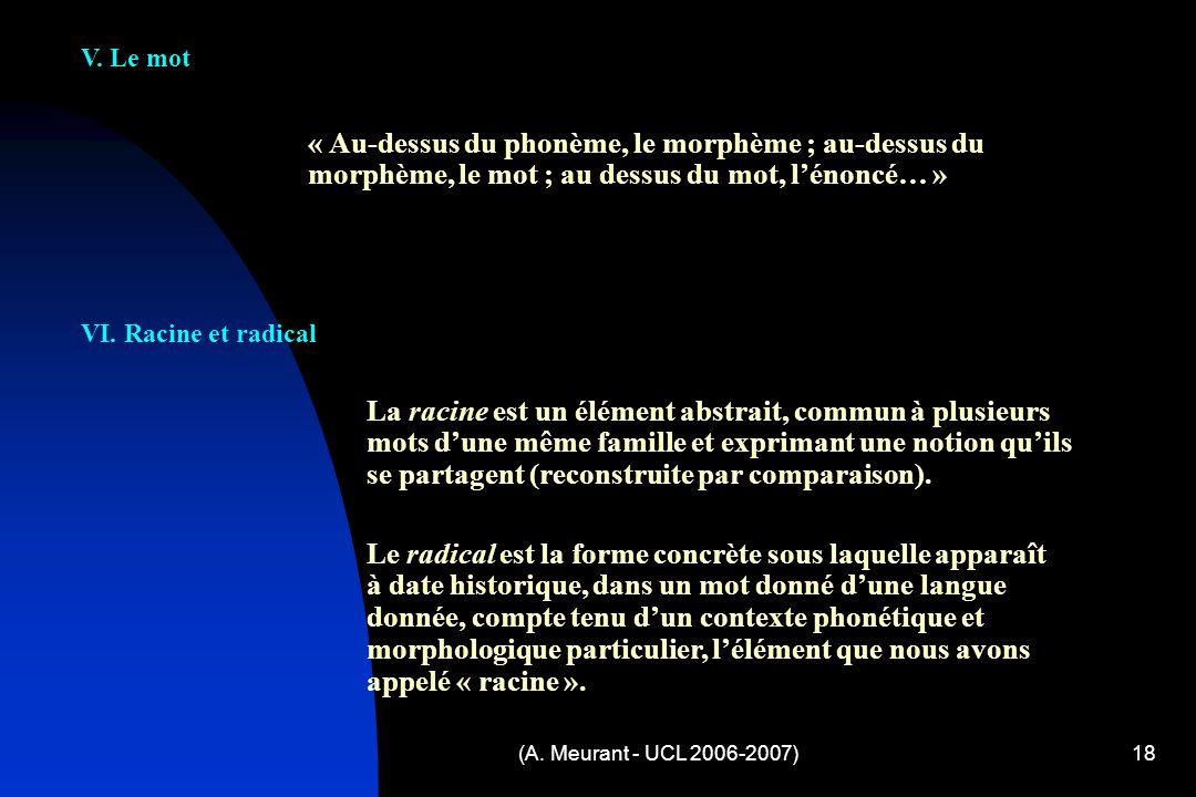 V. Le mot « Au-dessus du phonème, le morphème ; au-dessus du morphème, le mot ; au dessus du mot, l'énoncé… »