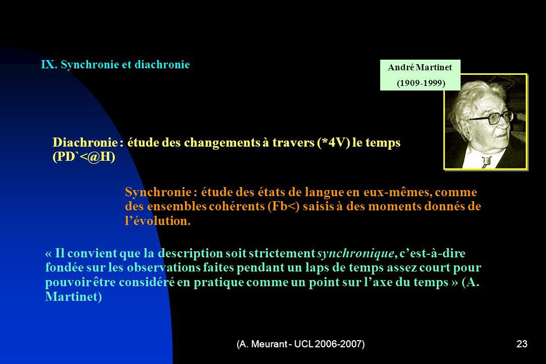 IX. Synchronie et diachronie