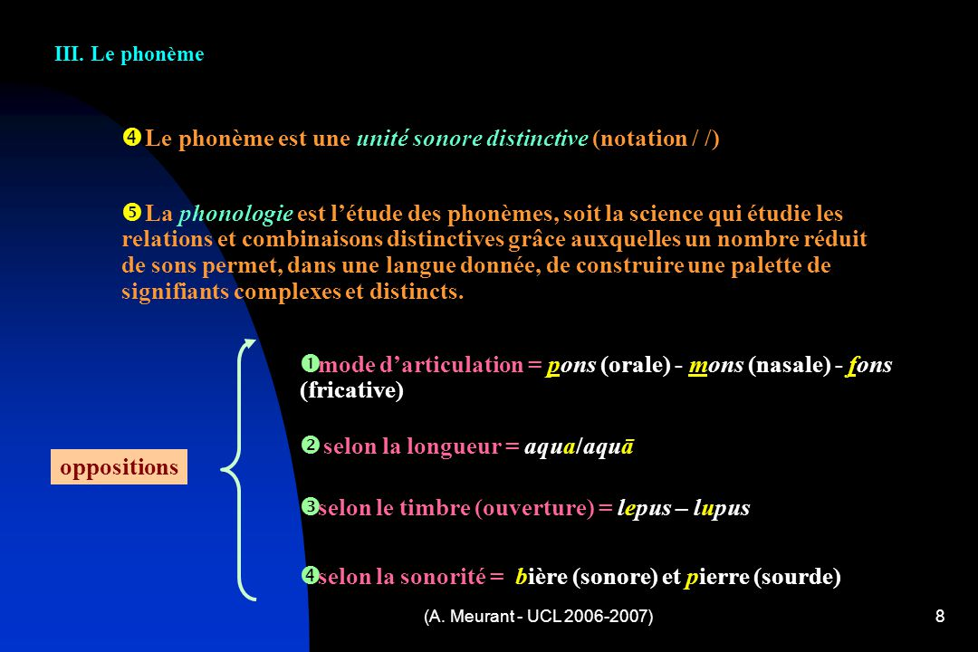 Le phonème est une unité sonore distinctive (notation / /)