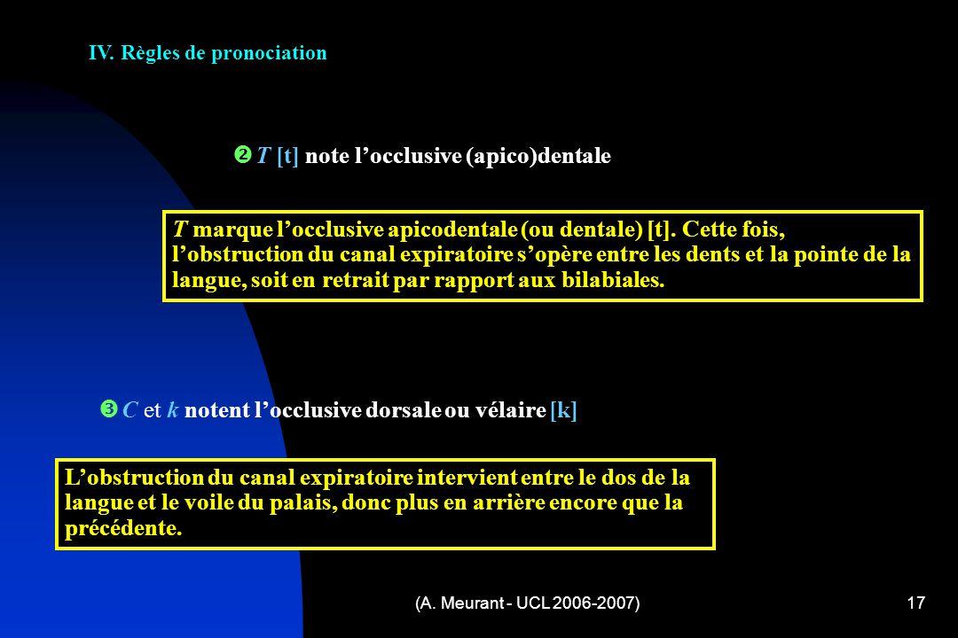 IV. Règles de pronociation