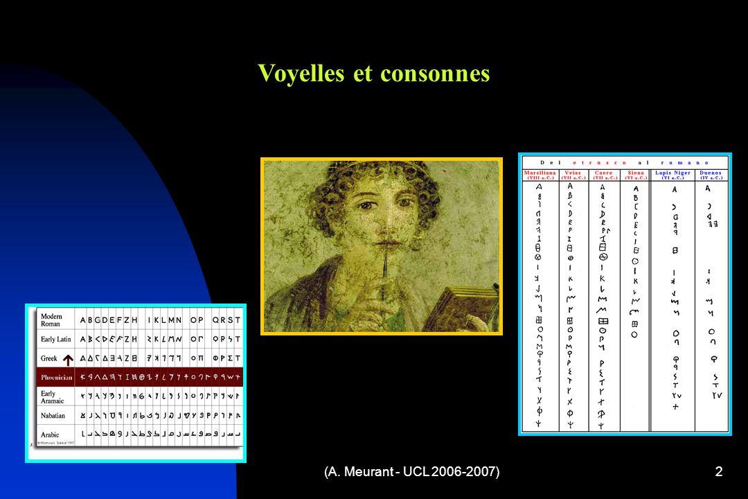 Voyelles et consonnes (A. Meurant - UCL 2006-2007)
