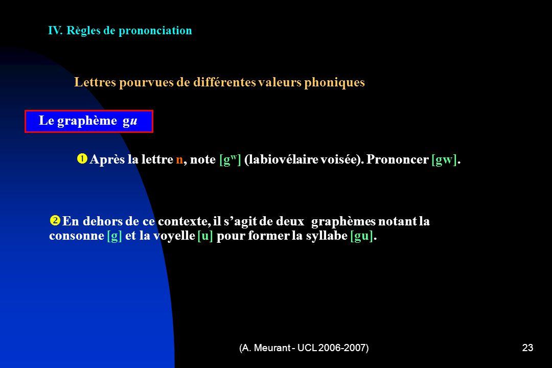 IV. Règles de prononciation