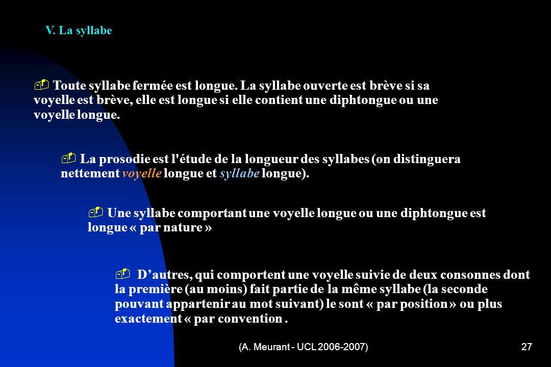 V. La syllabe