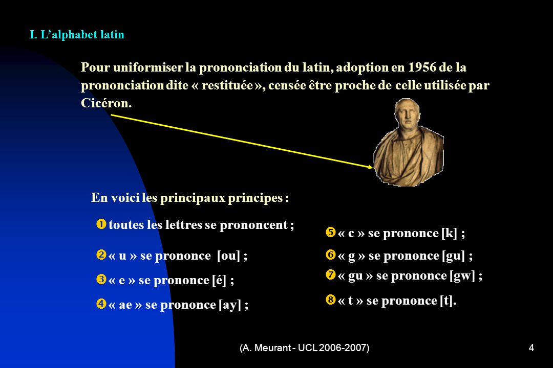 Pour uniformiser la prononciation du latin, adoption en 1956 de la