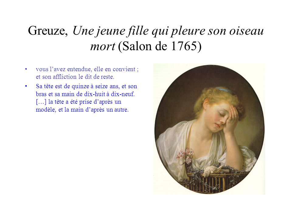 Greuze, Une jeune fille qui pleure son oiseau mort (Salon de 1765)
