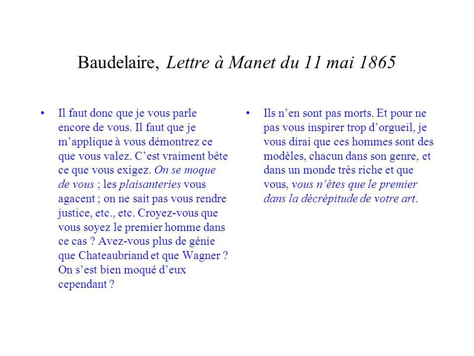 Baudelaire, Lettre à Manet du 11 mai 1865