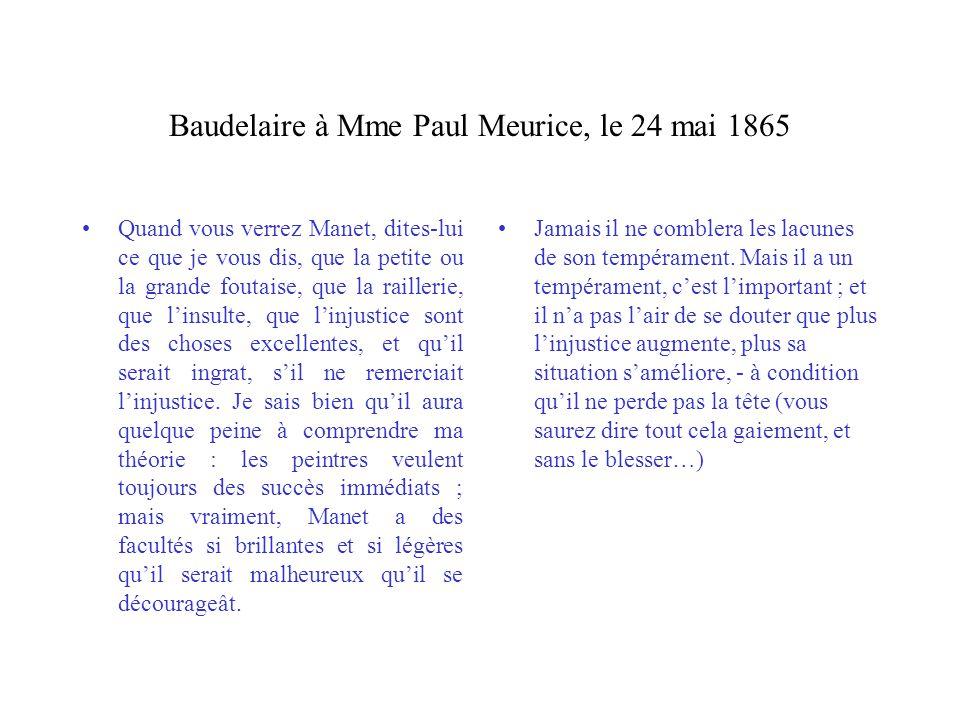Baudelaire à Mme Paul Meurice, le 24 mai 1865